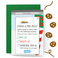 Cookies Policy Christmas Card - Funny Christmas Card - Joke Card – Topical