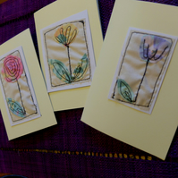 Set of 3 handmade embroidery floral cards