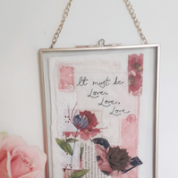Bird and Flower Embroidery Love Quote Picture Perfect for Wedding Present
