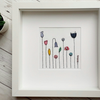 Applique Flowers Fabric Picture in a White Box Frame