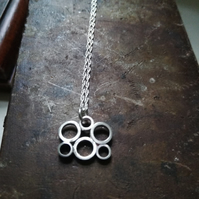 Bubble circle cloud necklace by wocky metals silver tube necklace
