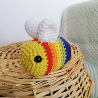 Crochet Rainbow Bee Soft Toy