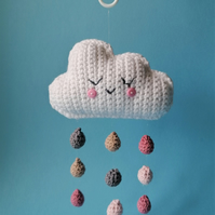 Crochet Sleepy Raincloud Baby Mobile