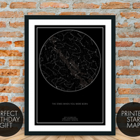 Custom Star Map Various Colours A4