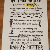 Harry Potter 'In this house' A4 print