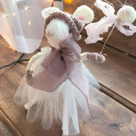 Christmas Decoration - Snow Berry Mouse in Mauve