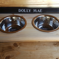 Handmade Pet Feeder Dog Cat Personalised Made From Recycled Materials