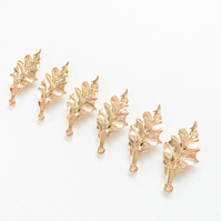 6 x Champagne Gold Leaf  Charms