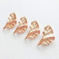 4 x Champagne Gold Leaf Charms