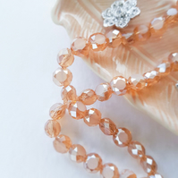 Peach Color Faceted Glass Flat Round Beads