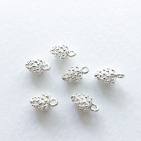 6 x Bright Silver Pinecone Charms
