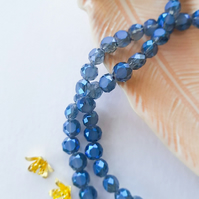 Faceted Flat Round Smoky Blue Glass Beads 8mm
