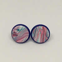 Multicoloured stud earrings, dark blue studs, funky earrings, unique earrings