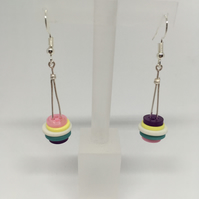 Multicoloured button earrings, upcycled jewellery, unique earrings