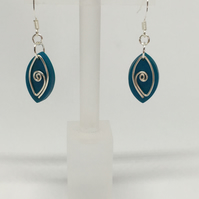 Turquoise dangle earrings, unique earrings, funky earrings