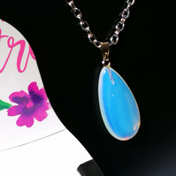 Oval Opalite Pendant on Silver Colour Necklace