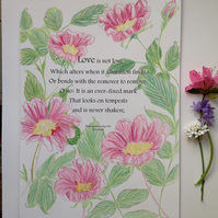 Shakespeare love quote and roses art