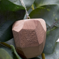 Handmade Walnut Wooden Facet Necklace with Silver Chain