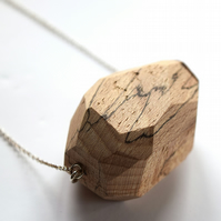 Spalted Beech Wooden Facet Necklace