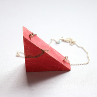 Red Holly Wooden Triangle Necklace
