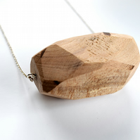 Large Apple Wooden Facet Necklace