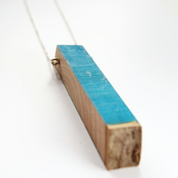 Blue Holly Wooden Necklace