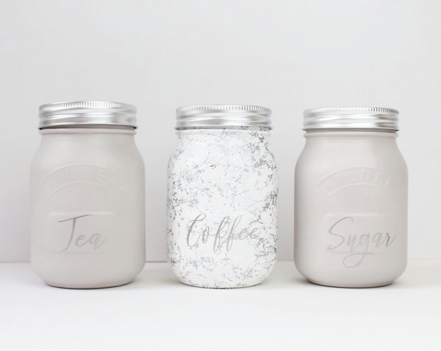 Set Of 3 Grey Marble Kilner Tea Coffee Sugar Jars
