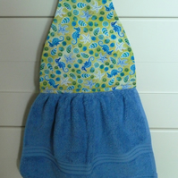 Hanging hand towel for bathroom or cloakroom
