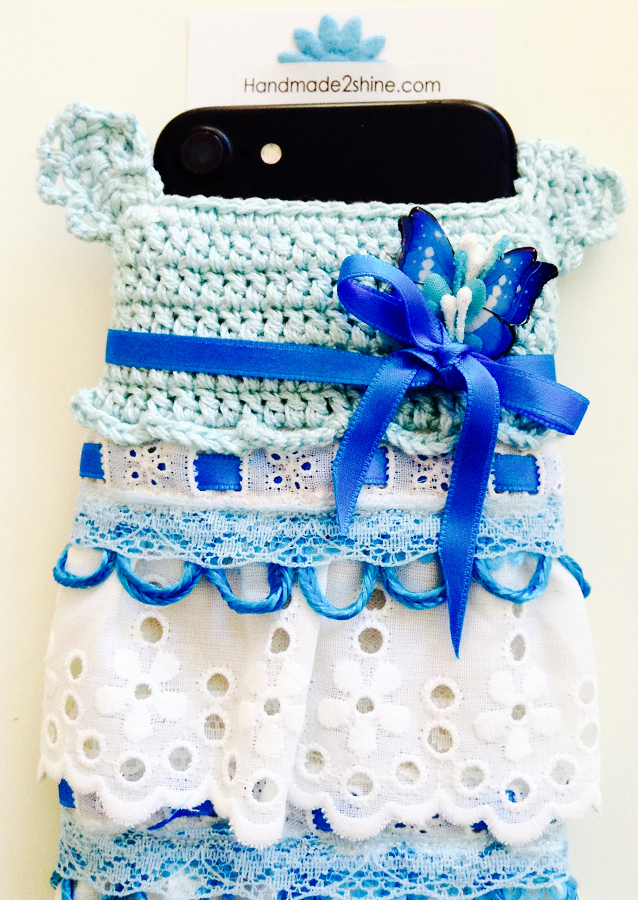Handmade2shine crocheted blue mobile phone case, babyshower gift, for her ....