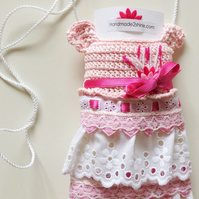 Handmade2shine crocheted pink mobile phone case, babyshower gift, for her ....
