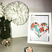 Floral Heart Wall Art, Digital Print, Print and Frame, Home Decor