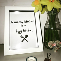 Messy Kitchen Print, Typography, Frame Available, Kitchen Wall Art