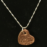 Stippled dot copper hand crafted pendant on 925 silver chain