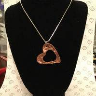 Hand crafted from scratch, copper open heart pendant 925 sterling silver chain