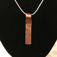 "Copper contemporary design pendant hand crafted on 18"" 925 sterling silver chain"