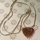 Contempory Heart  pendant copper kiln fired sterling silver 925 chain