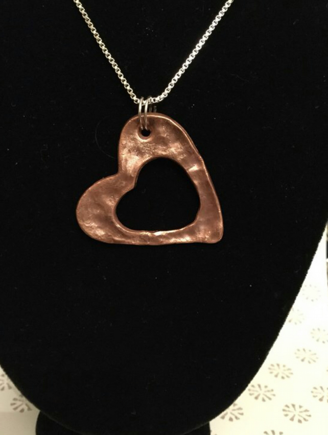Large textured open Heart pendant hand formed solid copper & 925 Silver Chain