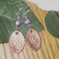 Handcrafted circles copper pearl silver drop earrings