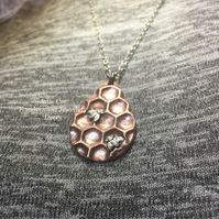Hand crafted Drop of Honey pendant silver bumblebee copper honeycomb