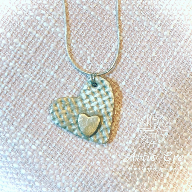"Sterling white Bronze heart pendant 30mm on 22"" 925 sterling silver chain"