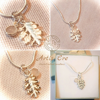 Doire Sterling Silver Oak Leaf Pendant with Gemstone Rose Quartz Crystal Peridot