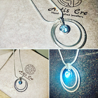 "Sterling Silver Circles with Striking Blue Topaz gemstone charm 18"" snake chain"