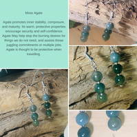 Natural Green Moss Agate gemstone dangle drop Earrings sterling silver