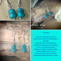 Sterling Silver and natural Turquoise stone nugget earrings drop dangle dogtooth