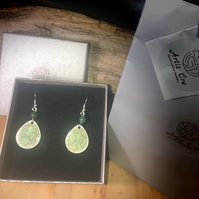 Moss Agate natural stone hand painted teardrops sterling silver earrings