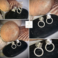 Solid Sterling Silver Forged open circle studs earrings pierced ear