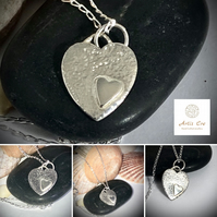 "Heart to heart solid Silver pendant hand forged with 16"" diamond cut curb chain"