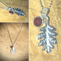 "Natural Ruby gemstone with Solid Sterling Silver oak leaf Pendant 16"" sterling"