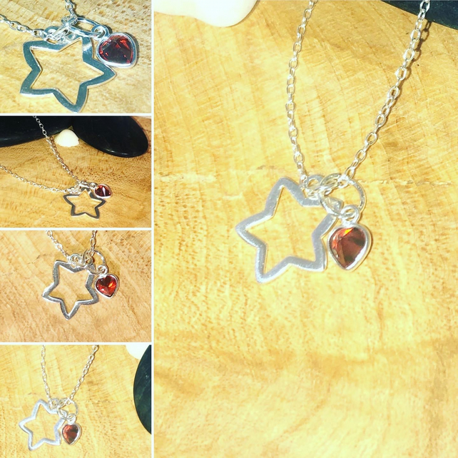 "Sterling Silver Star pendant with ruby Red Swarovski heart charm 16"" chain"