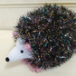 Cute Hand Knitted Hedgehog in Sparkly Black & Multi Tinsel Wool 16cm Long